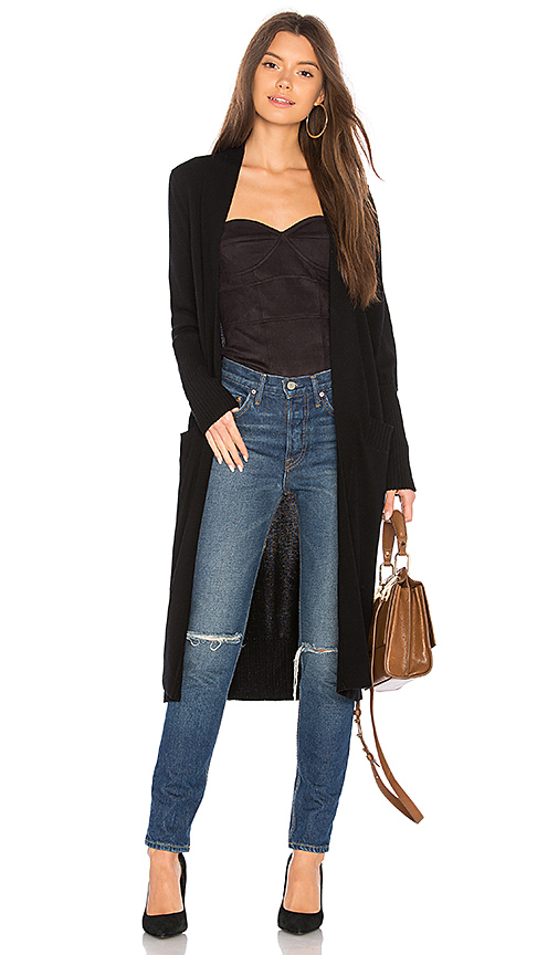 BROWN ALLAN Long Cardigan in Black. - size L (also in M,S,XS)