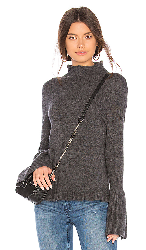 BROWN ALLAN Ruffle Sweater in Gray. - size L (also in M,S,XS)