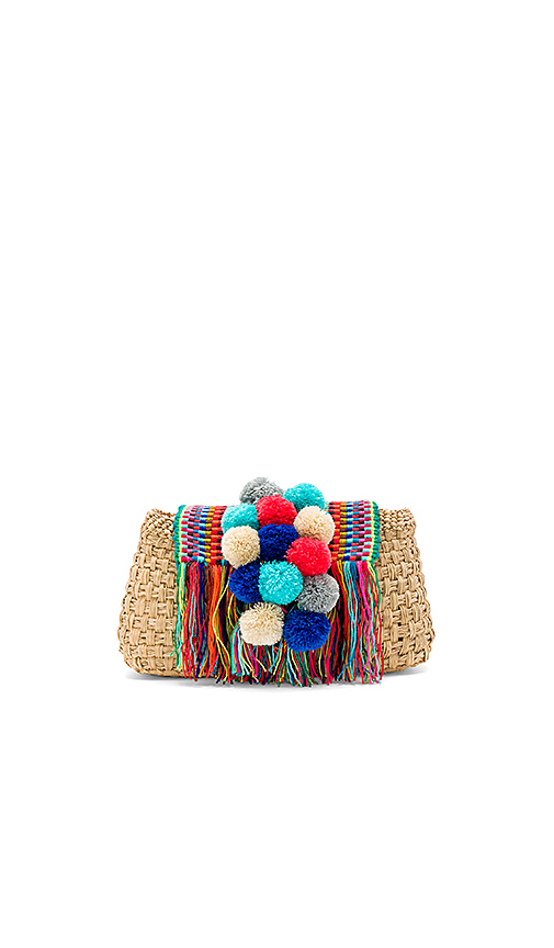 Caffe Pom Pom Clutch in Beige.