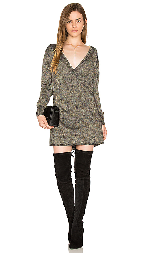 Callahan Shimmer Wrap Mini Dress in Metallic Bronze. - size S (also in XS)
