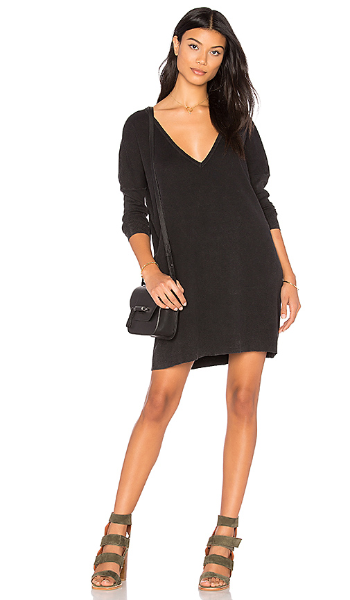 Callahan Enzyme Batwing Mini Dress in Black. - size L (also in S,XS)