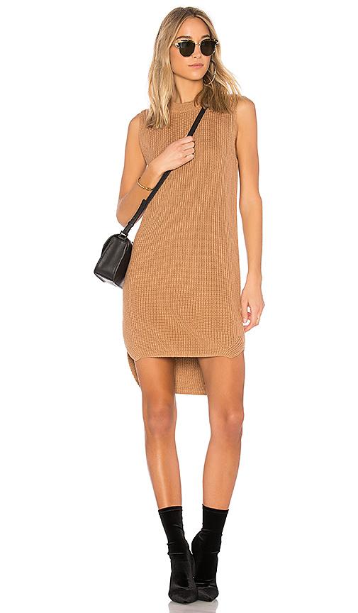 Callahan Shaker Hi Low Mini Dress in Brown