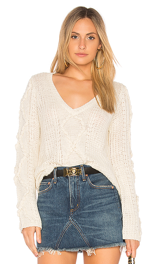 Callahan Nubby Bell Sleeve Sweater in Cream. - size S (also in L,M,XS)