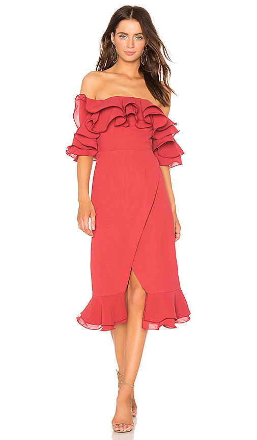 C/MEO Immerse Midi Dress in Red