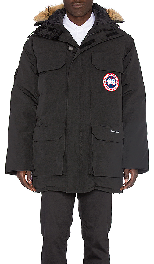 Canada Goose Expedition Coyote Fur Trim Parka in Black. - size L (also in M,S,XL)