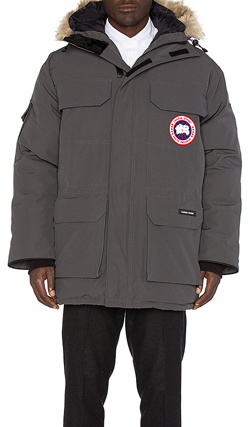 Canada Goose Expedition Coyote Fur Trim Parka in Charcoal. - size L (also in M,S,XL)