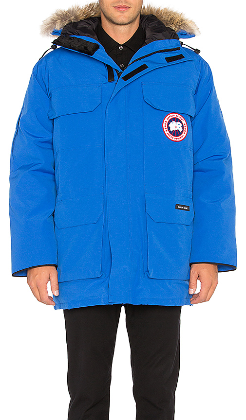Canada Goose Polar Bears International Expedition Coyote Fur Trim Parka in Blue. - size L (also in M,S,XL)