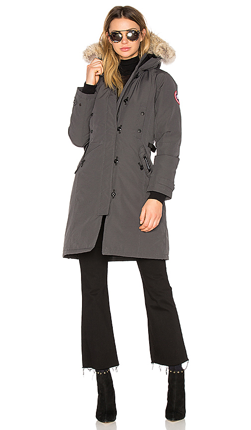 Canada Goose Kensington Parka with Coyote Fur Trim in Charcoal