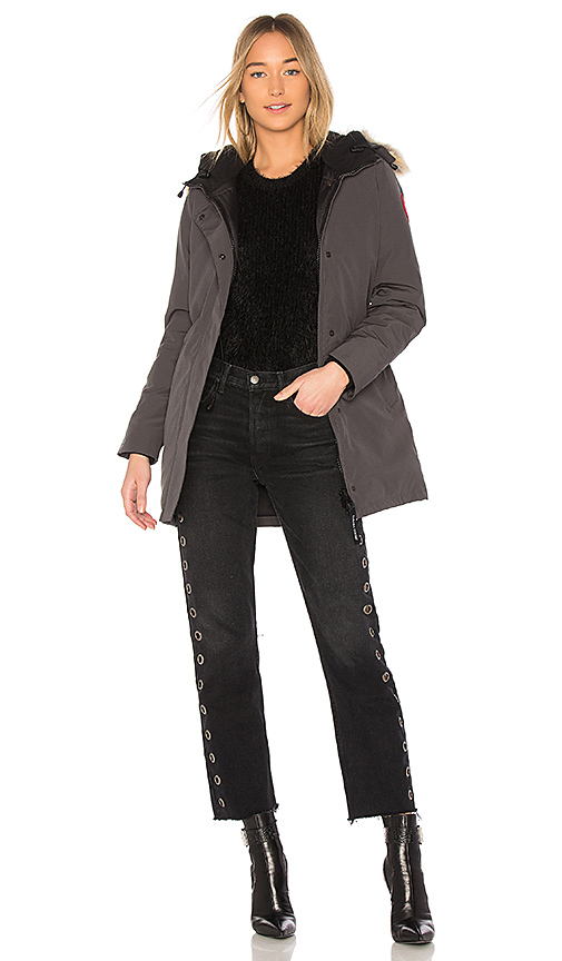 Canada Goose Victoria Parka with Coyote Fur Trim in Charcoal