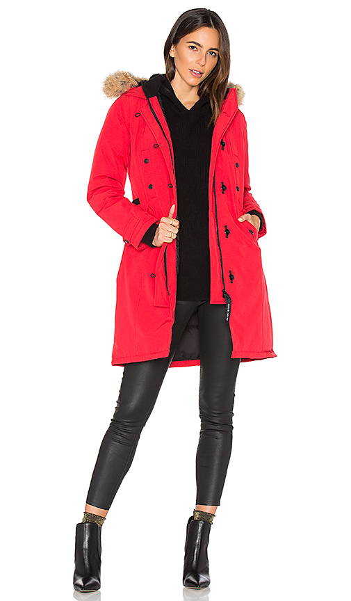 Canada Goose Kensington Parka with Coyote Fur Trim in Red