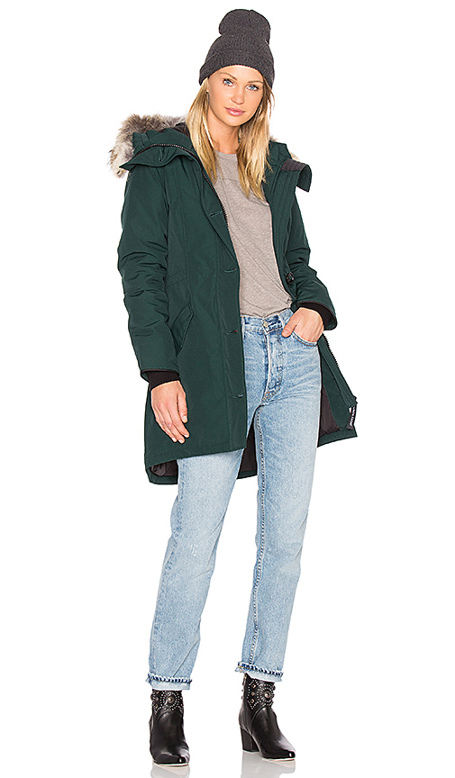Canada Goose Rossclair Coyote Fur Parka in Green