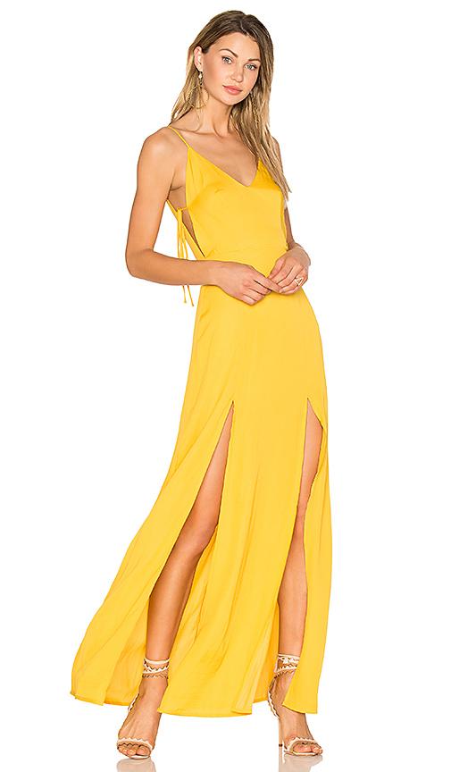 Capulet Gina Plunging Maxi Dress in Metallic Gold