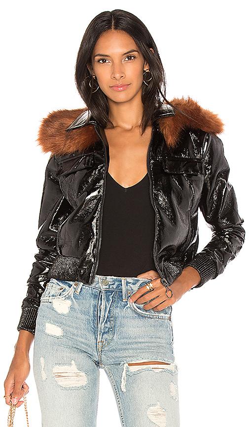 Capulet Flight Patent Leather Jacket in Black