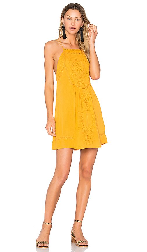 C & C California Dahna Strappy Embroidered Dress in Mustard