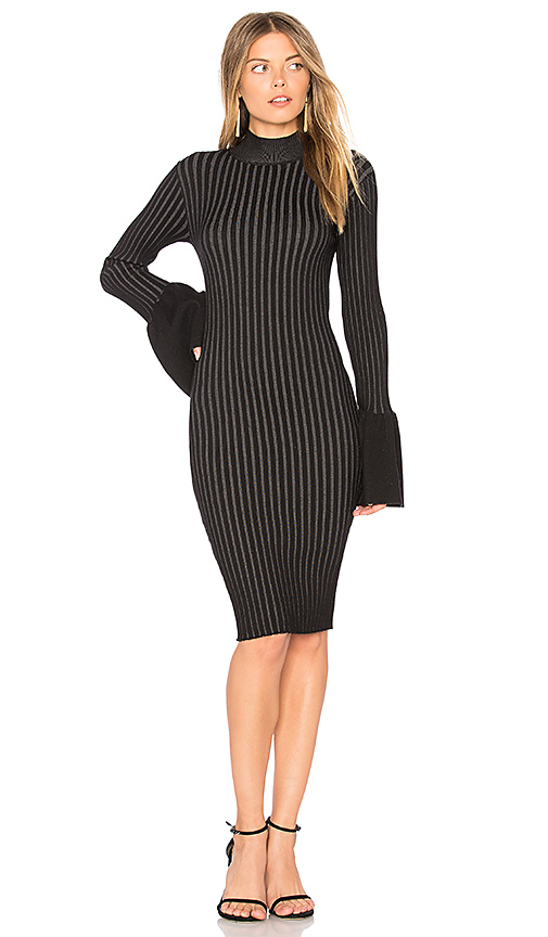 Central Park West Coconut Grove Bell Sleeve Dress in Black