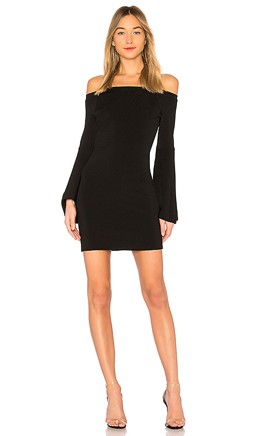 Central Park West Olympia Off the Shoulder Dress in Black