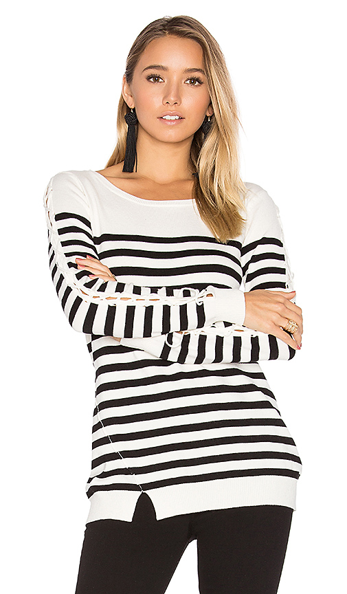 Central Park West Baton Rouge Stripe Sweater in Black. - size L (also in M,S,XS)