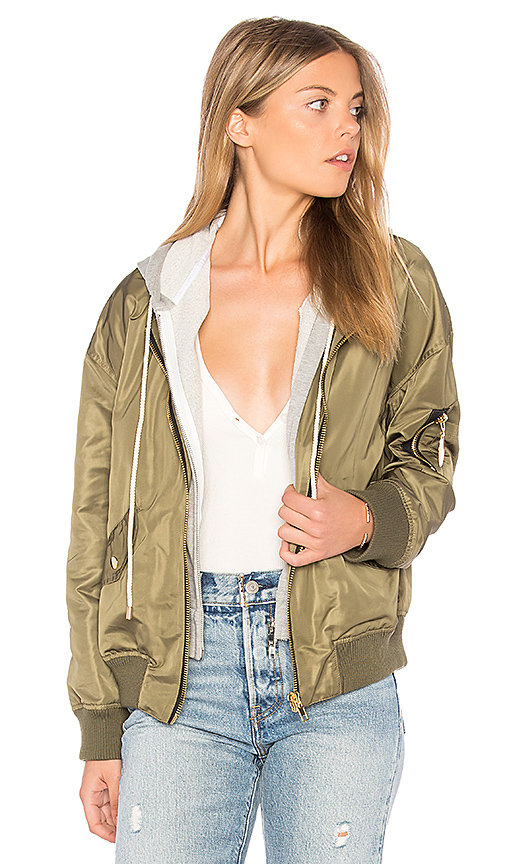 Central Park West Los Feliz Bomber with Hoodie in Army