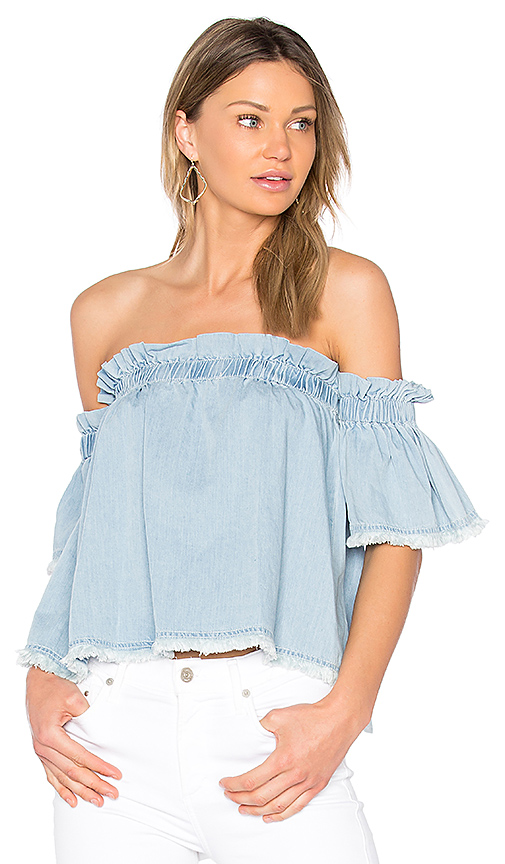 Central Park West Santa Cruz Off Shoulder Top in Baby Blue
