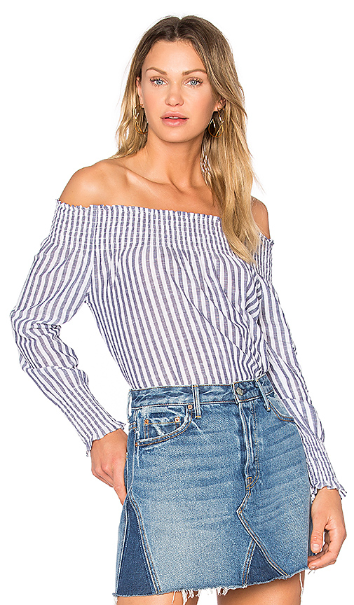 Central Park West Vero Beach Off Shoulder Top in Blue