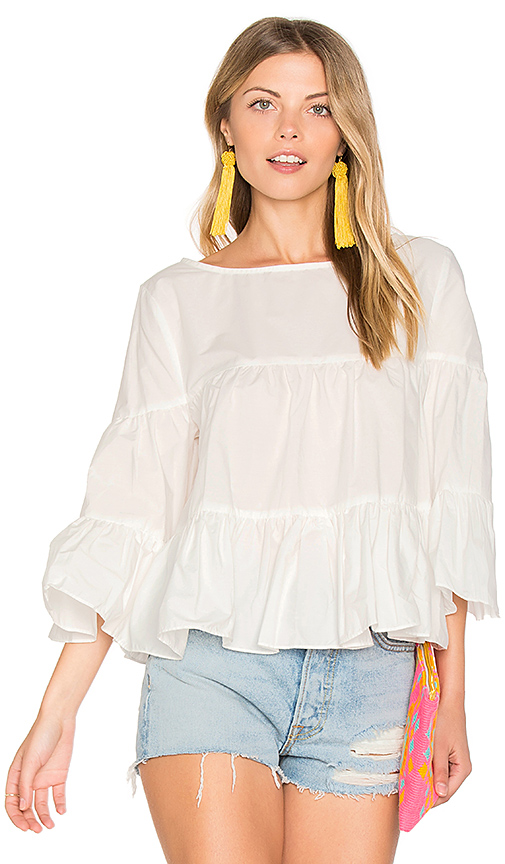 Central Park West Palm Beach Ruffle Top in White