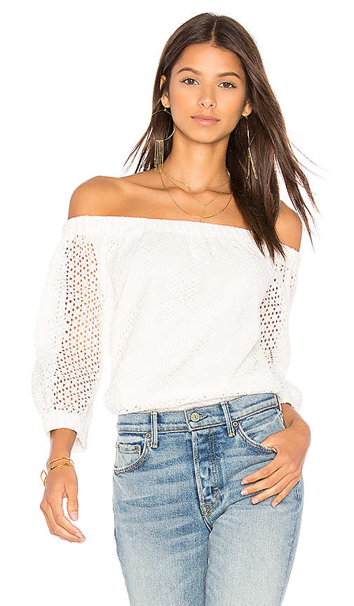 Central Park West Bristol Off Shoulder Top in White