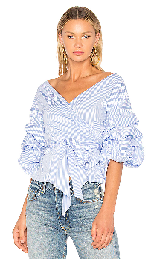 Central Park West Beacon Street Wrap Blouse in Blue