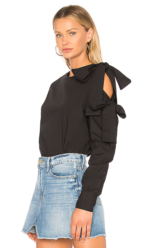 Central Park West Beacon Street Bow Blouse in Black