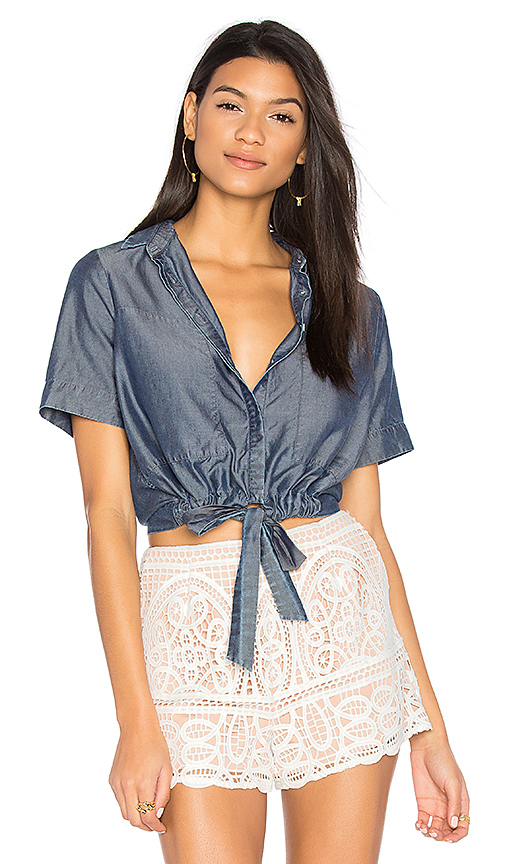CHARLI Sarai Tie Front Button Up in Blue