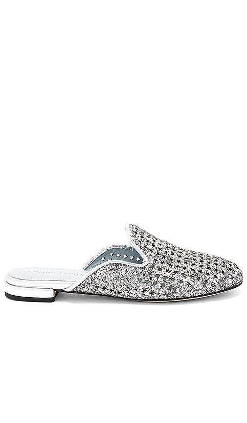 Chiara Ferragni Net Glitter Slide in Metallic Silver