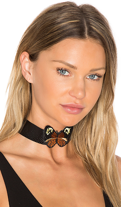 Child of Wild Monarch Leather Choker in Black