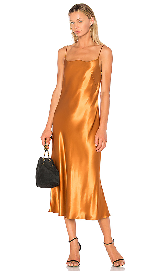 Christopher Esber Heatwave Bias Dress in Metallic Bronze