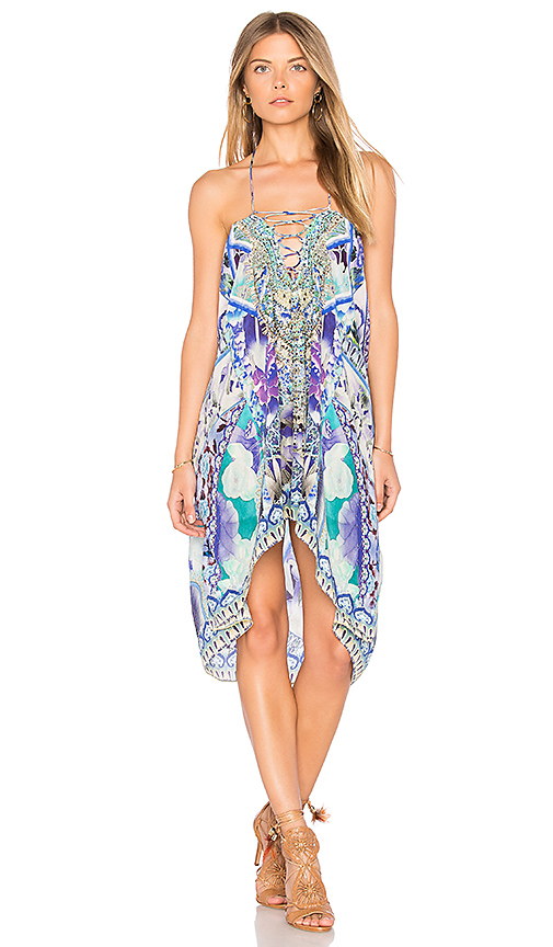 Camilla Lace Up Caftan in Blue