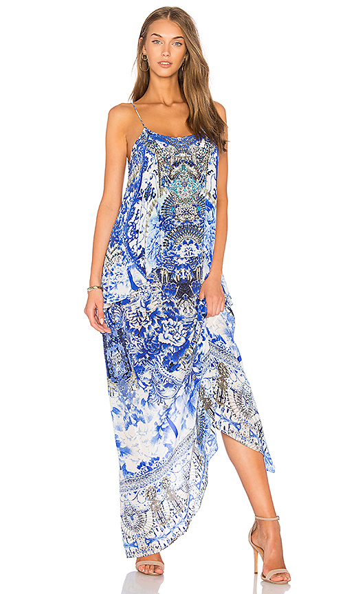 Camilla Low Back Layered Dress in Blue