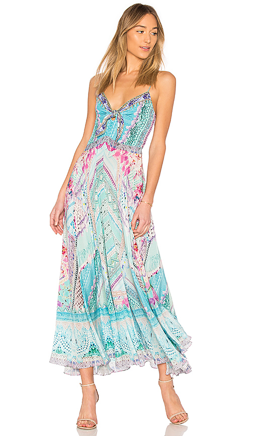 Camilla Tie Front Dress in Turquoise