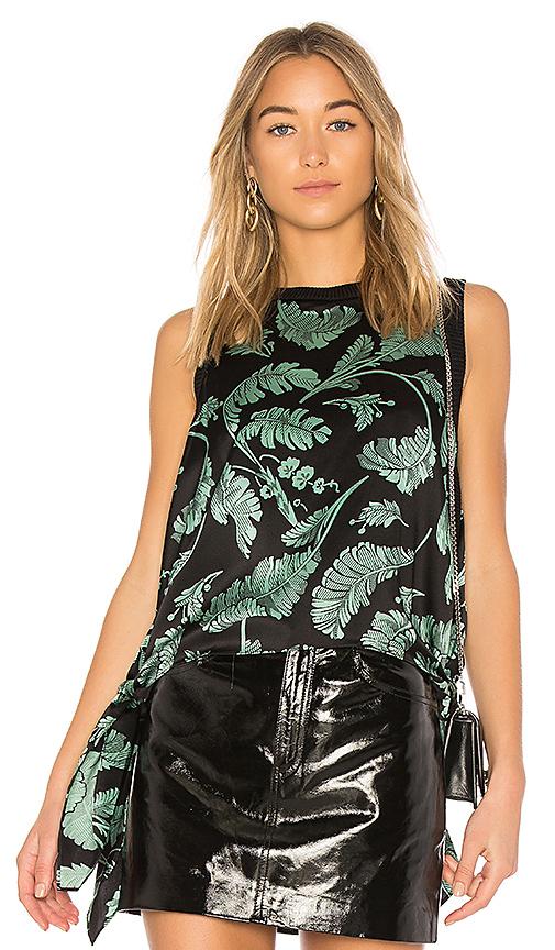 Cinq a Sept Palm Yvonne Handkerchief Top in Green