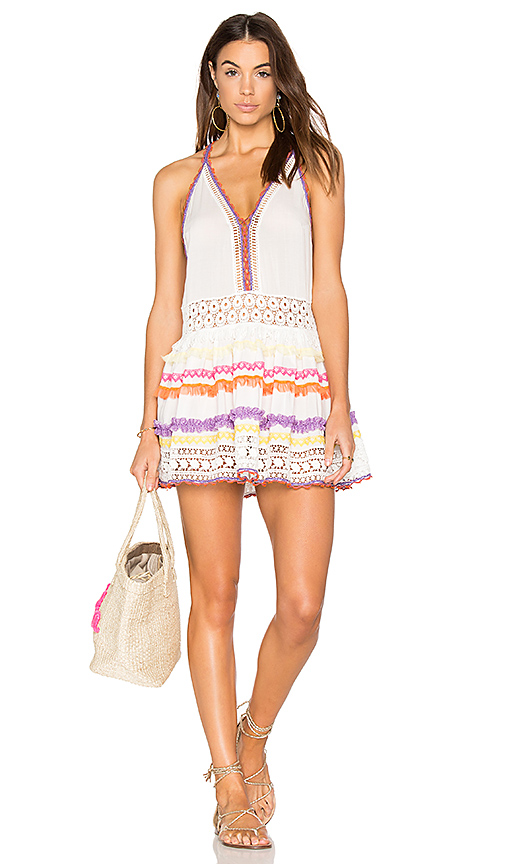 CHIO Lace Up Tank Dress in White