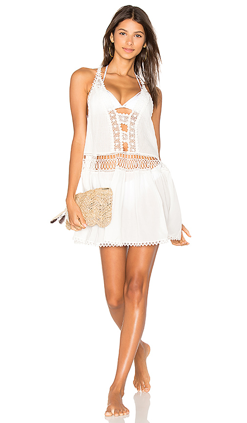 CHIO Halter Mini Dress in White