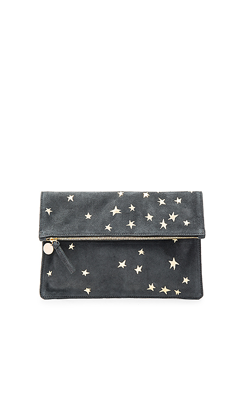Clare V Margot Supreme Foldover Clutch in Charcoal