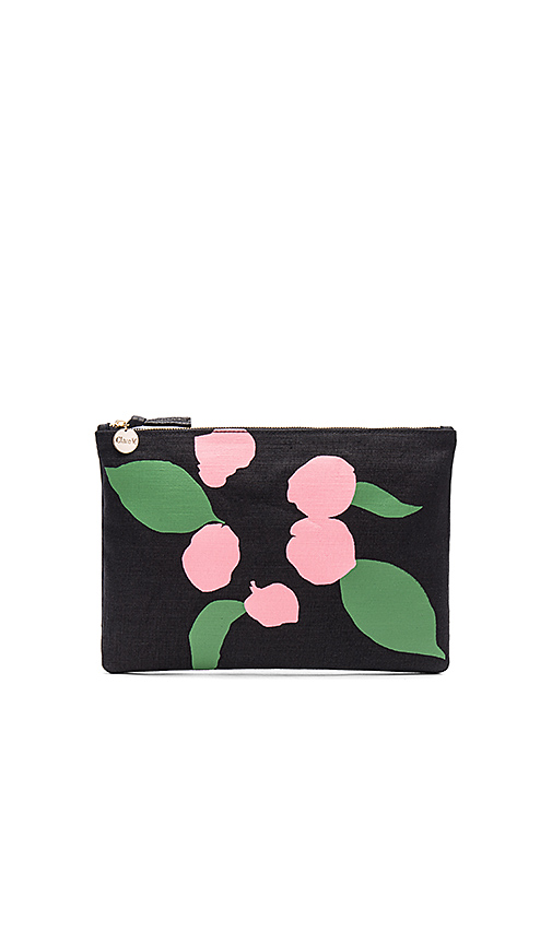 Clare V Flat Canvas Clutch in Black
