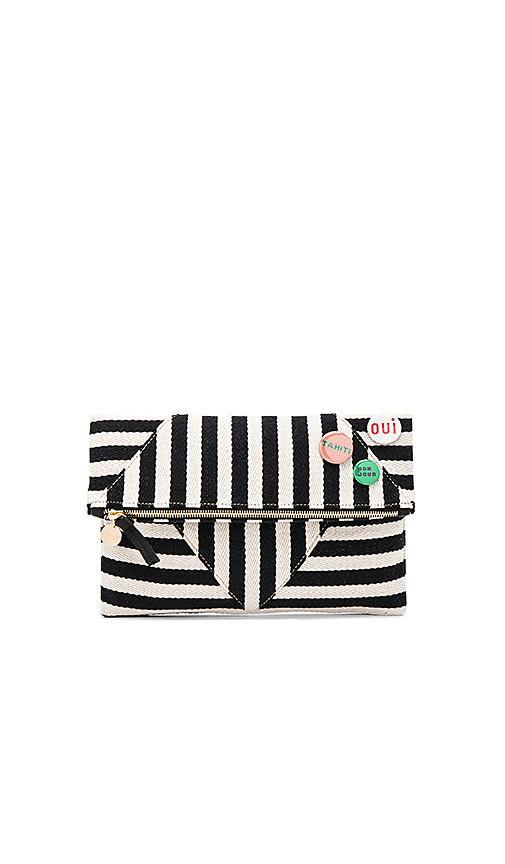 Clare V Patchwork V Foldover Clutch With Pins in Black & White