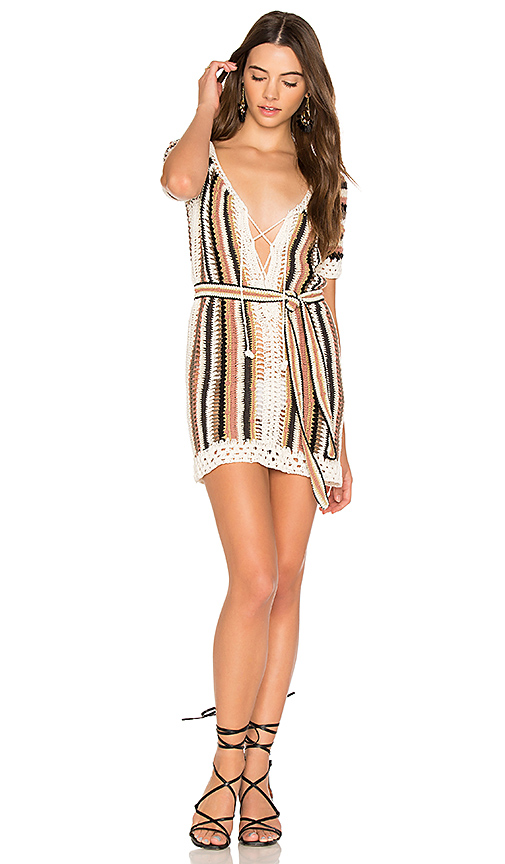 Cleobella Bardot Short Dress With Sash in Brown