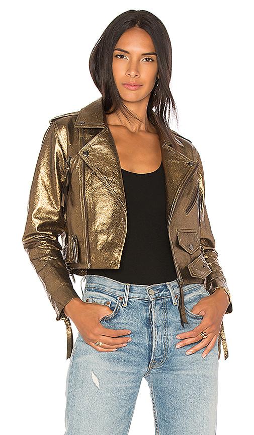 Cleobella Daphne Moto Jacket in Metallic Bronze
