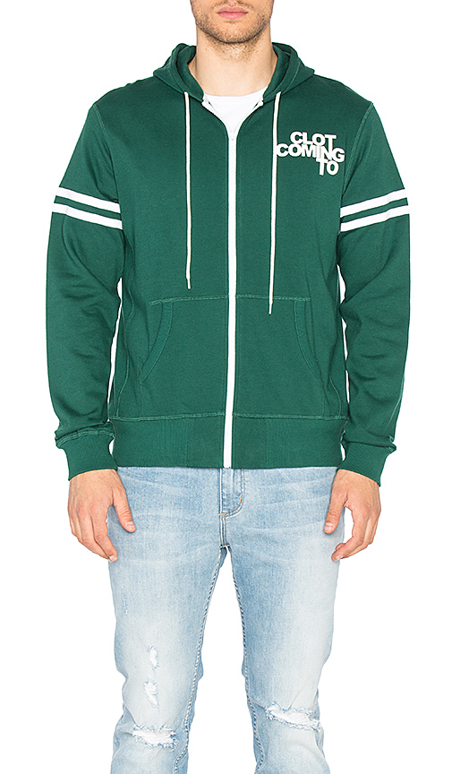 CLOT x REVOLVE Zip Up Hoodie in Green. - size L (also in M,XL)