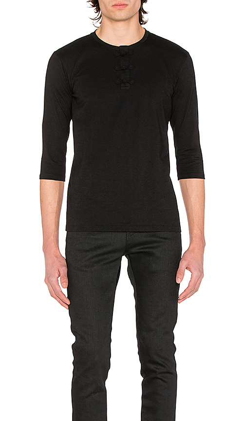CLOT Chinese Henley 3/4 Tee in Black. - size M (also in XL)