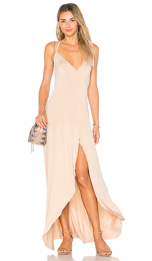 Clayton Dita Wrap Maxi Dress in Beige. - size L (also in M,S,XS)