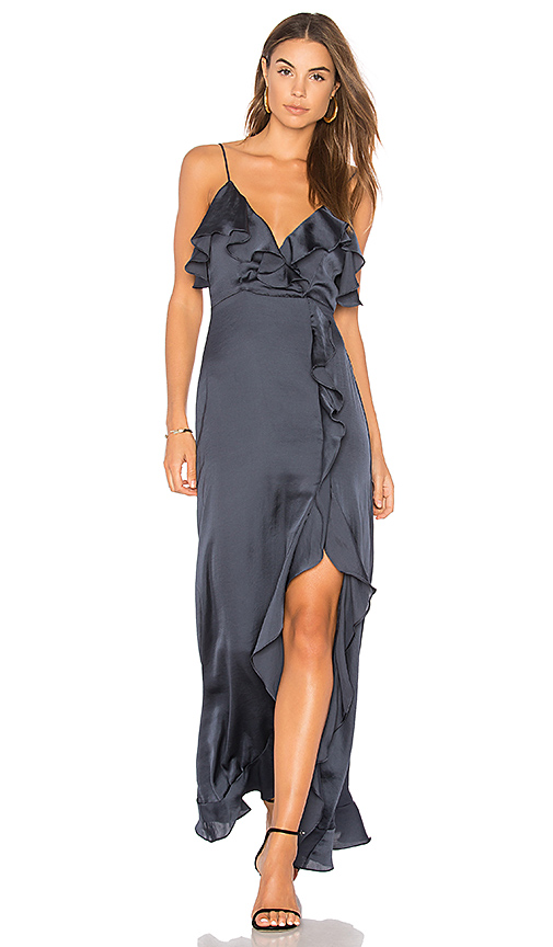 Clayton Lenore Satin Dress in Blue. - size S (also in L,M,XS)