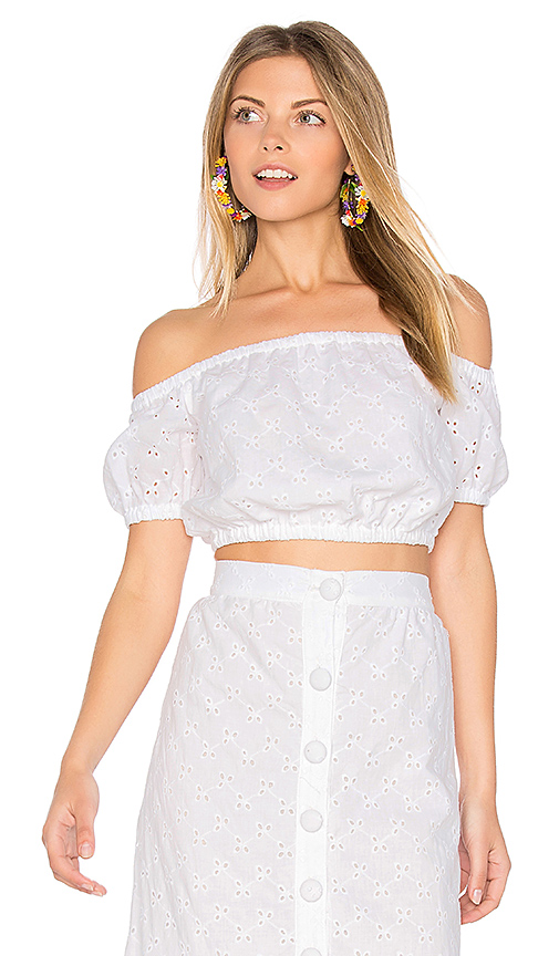 Clayton Vine Eyelet Nolan Top in White