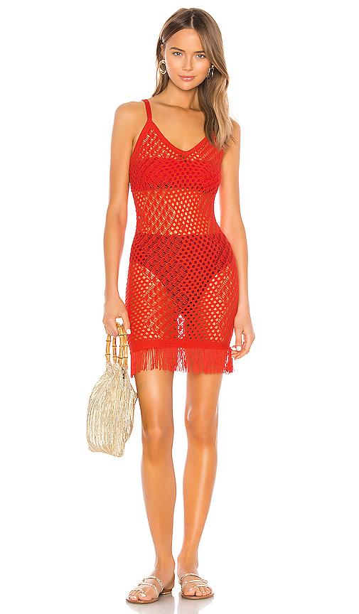 Camila Coelho En Route Crochet Dress in Red. - size XS (also in L,M,S,XL,XXS)