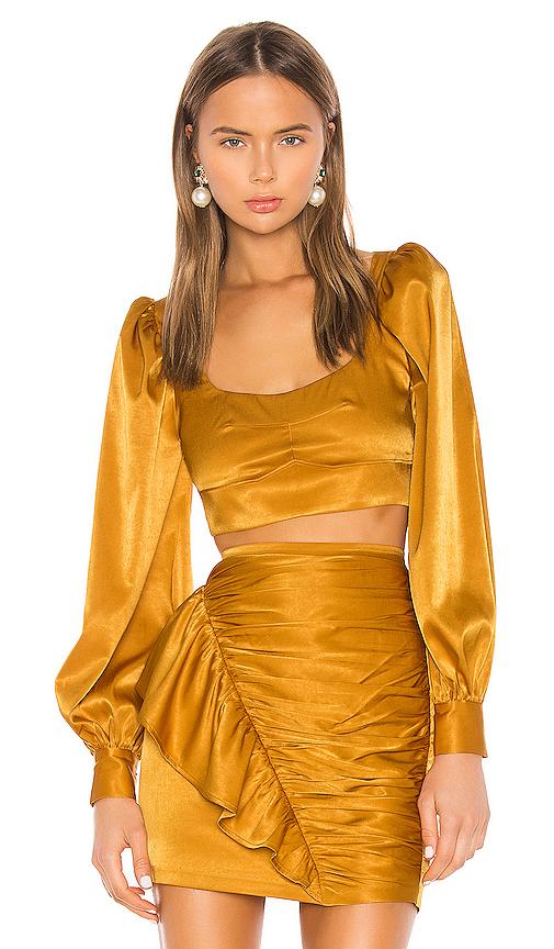 Camila Coelho Gabriella Top in Mustard. - size M (also in L,S,XL,XS,XXS)